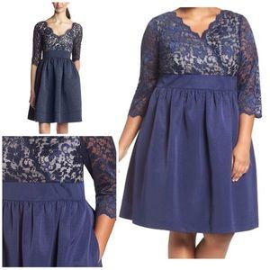 Eliza J Lace & Faille 3/4 Sleeves Blue Dress 16